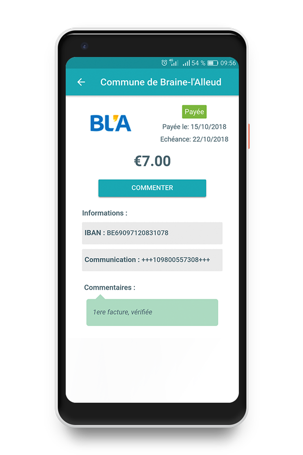 BLA invoice in Digiteal on phone
