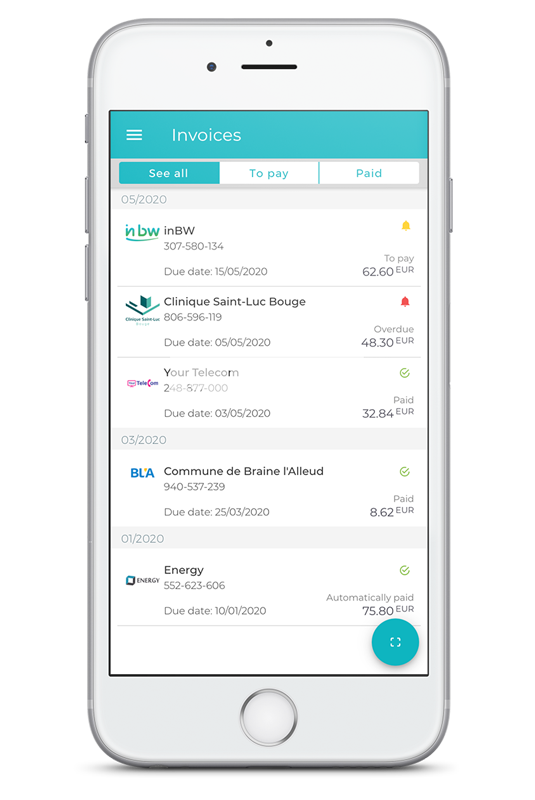 Invoices in Digiteal mobile app